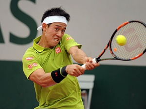 27 March 2016: Kei Nishikori (JPN) in action at the French Open, Stade Roland Garros, Paris, France (Photo by Cynthia Lum/Icon Sportswire)