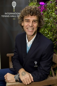 "June 2, 2016; Paris, France: Gustavo ""Guga"" Kuerten is announced as an International Ambassador by the International Tennis Hall of Fame on Day 12 of 2016 Roland Garros."