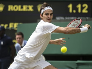 July 04, 2016 Roger Federer (SUI) in action during The Championships, Wimbledon, played at the AELTC, London, England