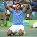 2016 Rio Olympics - Tennis - Semifinal - Men's Singles Semifinals - Olympic Tennis Centre - Rio de Janeiro, Brazil - 13/08/2016. Juan Martin Del Potro (ARG) of Argentina celebrates after winning match against Rafael Nadal (ESP) of Spain.    REUTERS/Kevin Lamarque  TPX IMAGES OF THE DAY. FOR EDITORIAL USE ONLY. NOT FOR SALE FOR MARKETING OR ADVERTISING CAMPAIGNS.