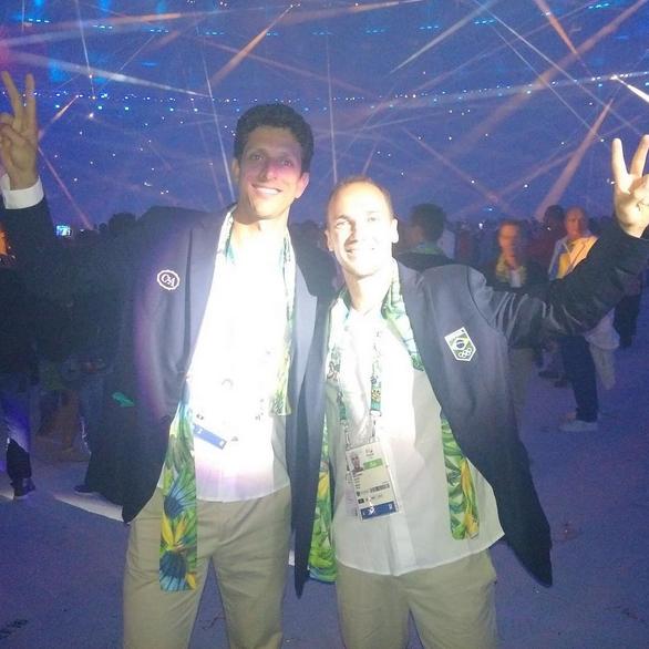 Marcelo Melo e Bruno Soares na cerimônia de abertura