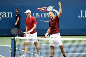 September 3, 2016 - Jamie Murray and Bruno Soares in action against Marcin Matkowski and Jurgen Melzer during the 2016 US Open at the USTA Billie Jean King National Tennis Center in Flushing, NY.