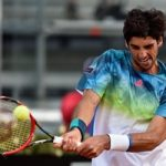 ROME, ITALY - MAY 09:  Tomaz Bellucci of Brazil plays a backhand in his match against Gael Monfils of France on Day Two of The Internazionali BNL d'Italia 2016 on May 09, 2016 in Rome, Italy.  (Photo by Dennis Grombkowski/Getty Images)