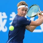 CHENGDU, CHINA - SEPTEMBER 28:  Casper Ruud of Norway returns a shot during the match against Viktor Troicki of Serbia during Day 3 of 2016 ATP Chengdu Open at Sichuan International Tennis Centre on September 28, 2016 in Chengdu, China.  (Photo by Zhong Zhi/Getty Images)