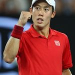 MELBOURNE, AUSTRALIA - JANUARY 22:  Kei Nishikori  of Japan celebrates a point in his fourth round match against  Roger Federer of Switzerland on day seven of the 2017 Australian Open at Melbourne Park on January 22, 2017 in Melbourne, Australia.  (Photo by Clive Brunskill/Getty Images)